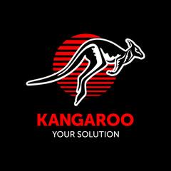 kangaroo hopping in the sun, vector, shop