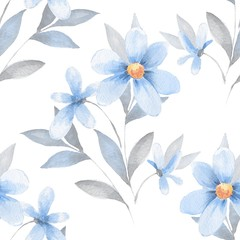 Seamless pattern 52. Background with flowers. Watercolor painting