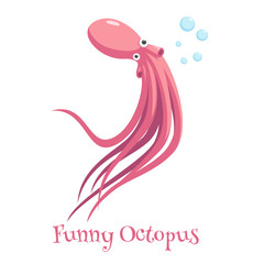 cartoon octopus swimming and blowing bubbles on a white background, funny and surprised octopus with big eyes vector illustration