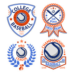 Set of old style Baseball Labels with ball and bats. Vector