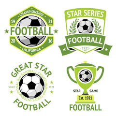 Vector set of green vintage Football labels. With laurel wreath, goblet, ball, shield and ribbons.