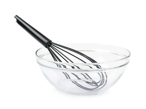 Black plastic french whisk isolated