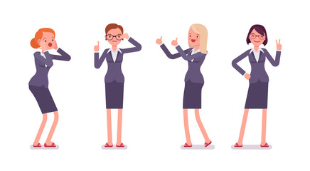 Set of four business female characters. Surprised, instructive, strict, thumb up, vicory. Women are in a formal wear. The set of characters isolated against the white background. Cartoon vector flat