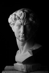 gypsum bust of David over a black background