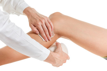 Flexible elastic supportive orthopedic bandage, compression stabilizer knee.