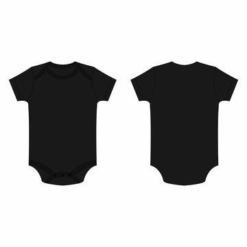 Black baby bodysuit vector isolated
