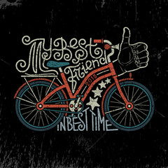 Bicycle vintage lettering. Hand drawn lettering logo with bike. Biking as a lifestyle vintage poster. Hipster bike. Grunge texture grouped separately and is easily removed.