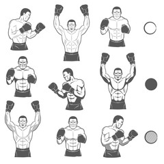 Boxer front, side view in different versions, with and without shadows. A set of monochrome drawings Boxer in different poses.