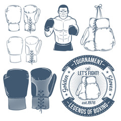 Boxing gloves, boxer, boxing logos. Boxing attributes  in retro style. Hanging boxing gloves.