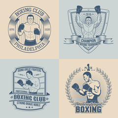 Emblems on the theme boxing - round, triangular, rectangular. Sports logos with boxer.
