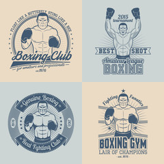 Boxing logos. Boxer in the corner. Boxer with raised hands. Boxing emblem in retro style.