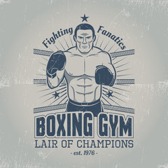 Boxing gym logo in old school style. Emblem with a boxer in the ring in grungy style. Scratches are grouped separately.