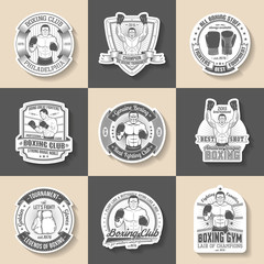 Boxing emblem set of 9 pieces. Boxing stickers, labels in old-school style. Vintage sports stickers.