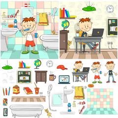 The boy in the bathroom brushing her teeth. Bathroom interior. Boy in a room with a laptop sitting at the table. Interior room student. All the elements of conditions are available separately.