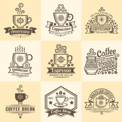 Vintage emblems for coffeehouse. Logos with a mug of coffee in retro style.