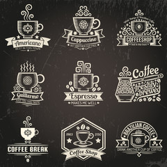 Coffee logos. Emblems for coffee shop in vintage style. Cup of coffee. Grunge texture grouped separately and is easily removed.