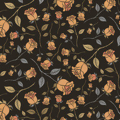 Seamless pattern of vintage roses on a black background. Exquisite endless pattern of painted roses. Pattern stored in a file on the swatches panel.