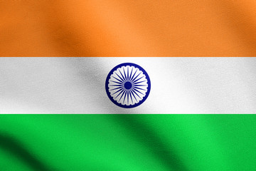 Flag of India waving with fabric texture