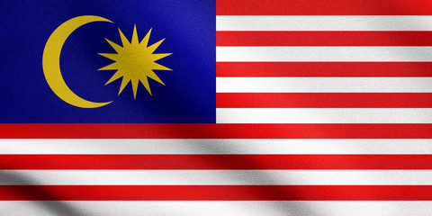 Flag of Malaysia waving with fabric texture
