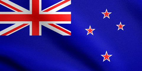 Flag of New Zealand waving with fabric texture
