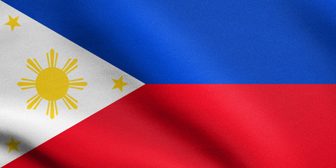 Flag of the Philippines waving with fabric texture