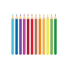 Colored pencils, isolated over white background. Vector color crayon set