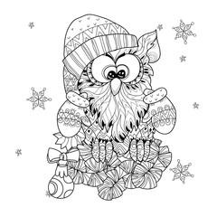 Christmas Owl on fir tree branch
