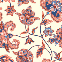 Floral  pattern. Flourish retro background. Branch with fantastic flowers and leaves