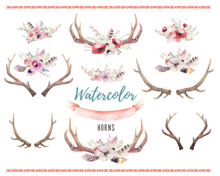 Set of watercolor floral boho antler print.  western bohemian de