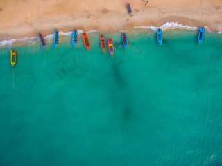 Photo sur Plexiglas Vue aerienne Aerial view of beach with boats, Koh Phangan, Thailand