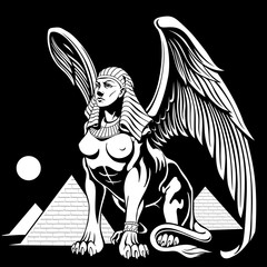 Sphynx near the pyramids with wings vector illustration