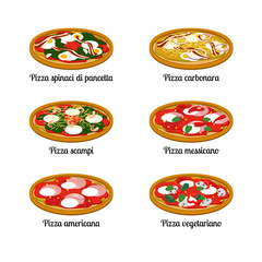 Set of sort of pizza with different ingredients. Vector flat illustration on white background