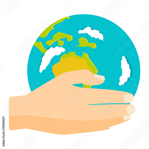 """People holding earth. globe in hands concept of happy ..."