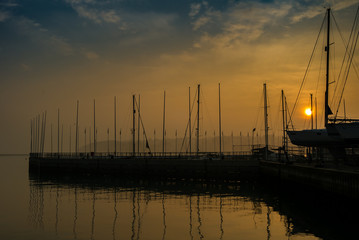 Yachts in the harbour at dawn at Cowes, Isle of Wight