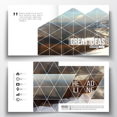 Set of square design brochure template. Abstract colorful polygonal backdrop, blurred background, mountain landscape, modern stylish triangle vector texture