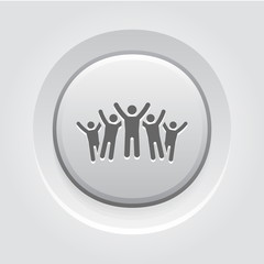 Victory Icon. Grey Button Design.