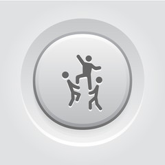 Team Building Concept Icon. Grey Button Design.