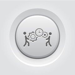 Project Management Icon. Grey Button Design.