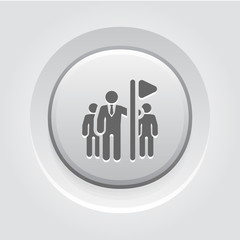 Team Leader Icon. Grey Button Design.