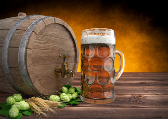 glass of oktoberfest beer with keg, barley and hops. 3D render