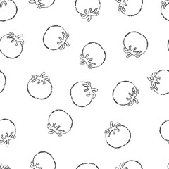 Vector seamless pattern hand drawn brush line white tomato on white background