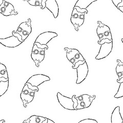Vector seamless pattern hand drawn brush line black chili pepper with mustache and glasses on white background