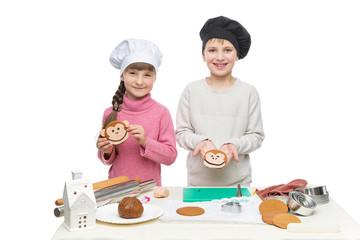 Children making christmas cookies