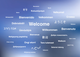 Welcome phrases in different languages of the world on blue blurred background