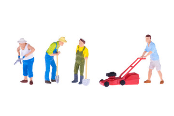 Close up of Miniature gardener people isolate on white background