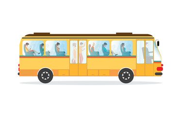 Passengers in public transport bus.