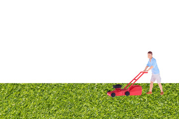 Close up of Miniature gardener people in green grass garden. Elegant Design with copy space for placement your text, mock up for housework and gardening concept