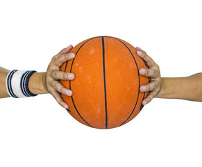Basketball ball in hands isolated over white