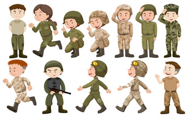 Male and female soldiers in uniform