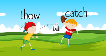 Boys throwing and catching ball in the field